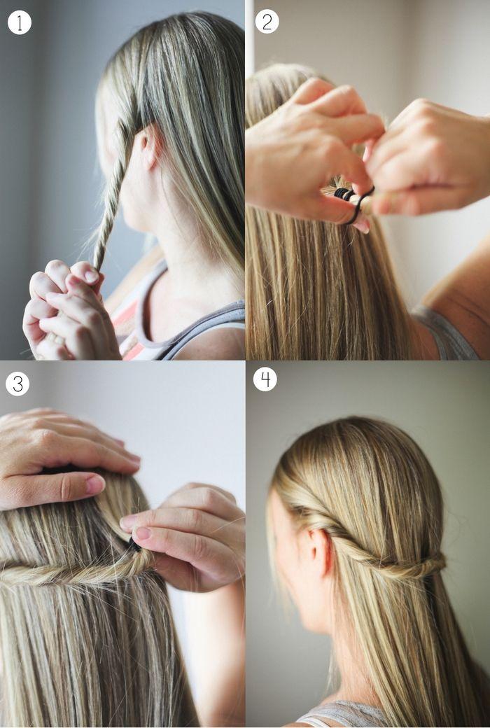 id e coiffure une coiffure simple et rapide avec deux m ches torsad es attach es en arri r. Black Bedroom Furniture Sets. Home Design Ideas