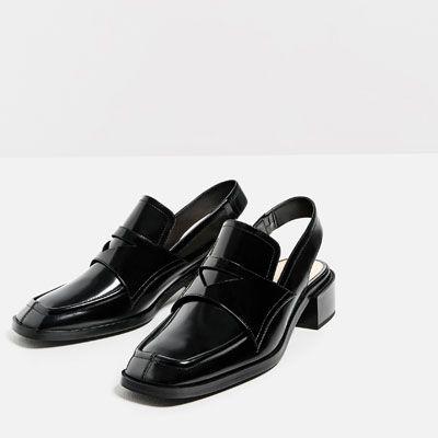 tendance chaussures 2017 2018 mocassins en cuir ouverts au talon cuir chaussures femme soldes. Black Bedroom Furniture Sets. Home Design Ideas