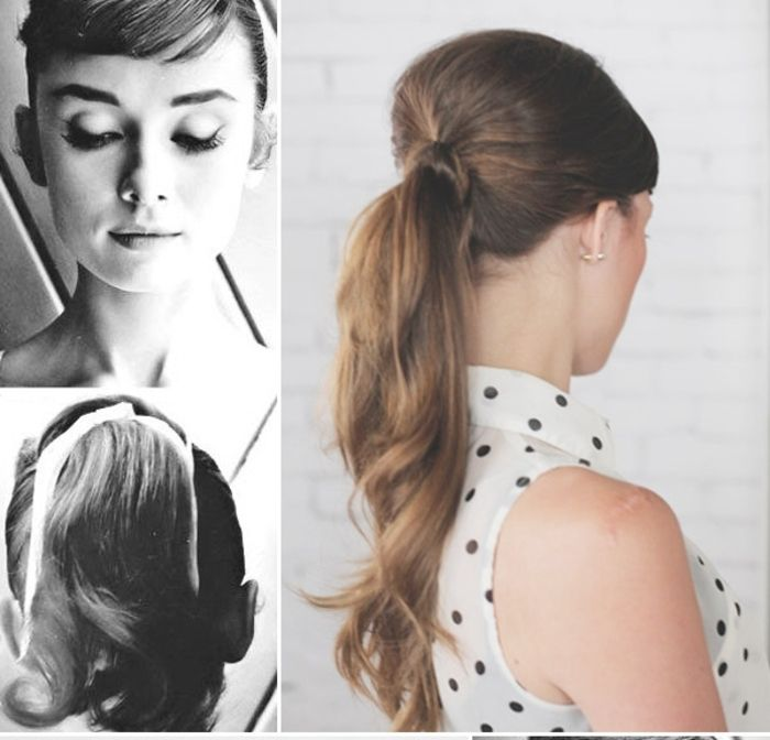 id e coiffure une coiffure femme ann e 50 inspir e par la queue de cheval ondul e et l g. Black Bedroom Furniture Sets. Home Design Ideas