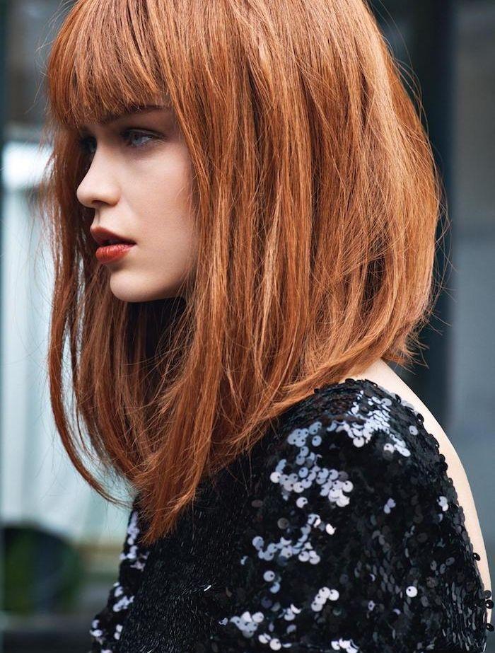 Id e coiffure couleur cuivr e cheveux avec coupe carr d grad avec frange robe noire pa - Coupe carre avec frange degrade ...