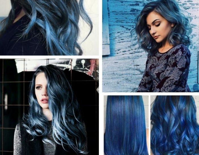 Couleur de cheveux noir reflet bleu