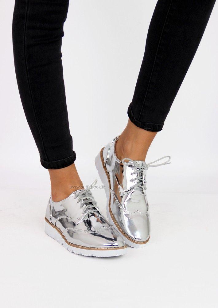 90b84e426bfa Tendance Chaussures 2017  2018   Derbies argentés - Madame.tn ...