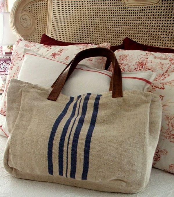 tendance sac femme 2017 2018 sac en toile sac en tissu de jute avec des anses en cuir. Black Bedroom Furniture Sets. Home Design Ideas