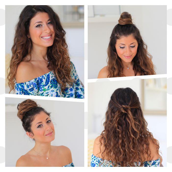 Idee Coiffure Plusieurs Idees De Coiffure Cheveux Boucles Laches En Demi Chignon Chignon Madame Tn Magazine Feminin Numero 1 Mode Beaute Shopping Lifestyle