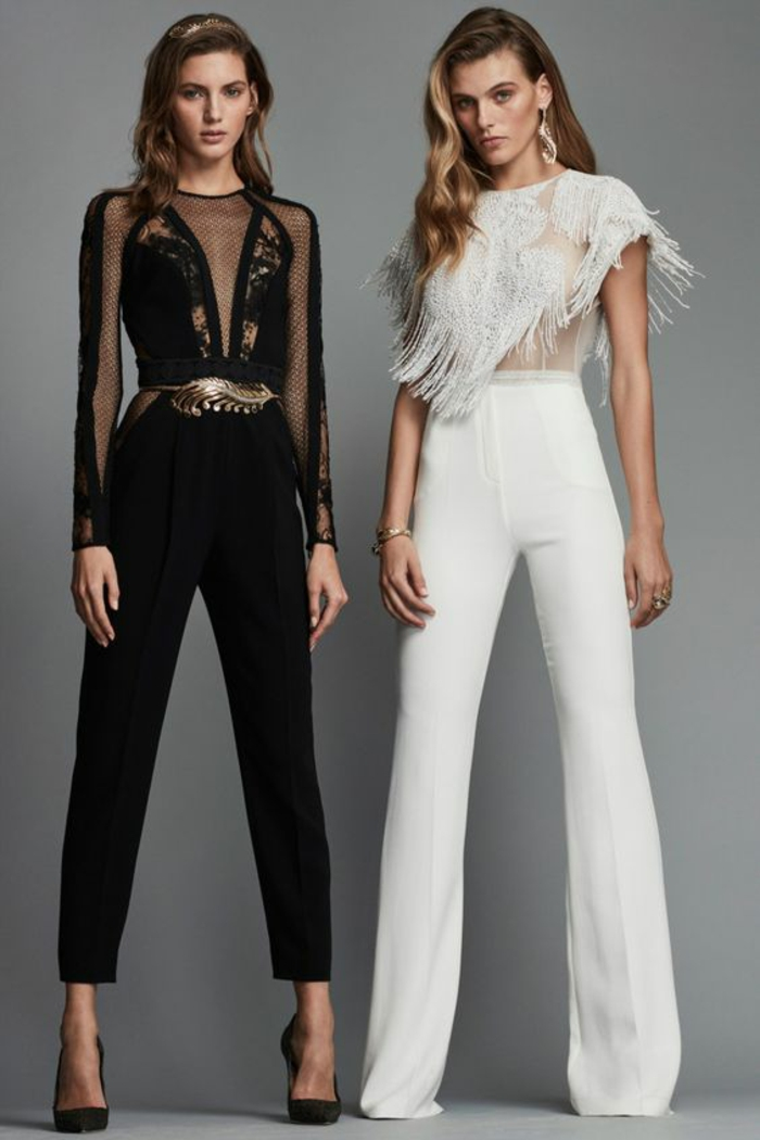 tenue pour assister a un mariage, deux tenues, en noir et blanc, tenue ceremonie femme, deux variantes avec pantalon noir et pantalon blanc, top noir manches transparentes et top blanc aux franges
