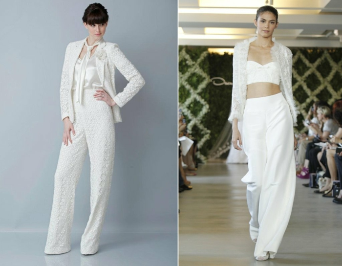 tenue ceremonie femme, deux modèles avec veste et pantalon tout en blanc, un pantalon entièrement en dentelle blanche, veste en dentelle