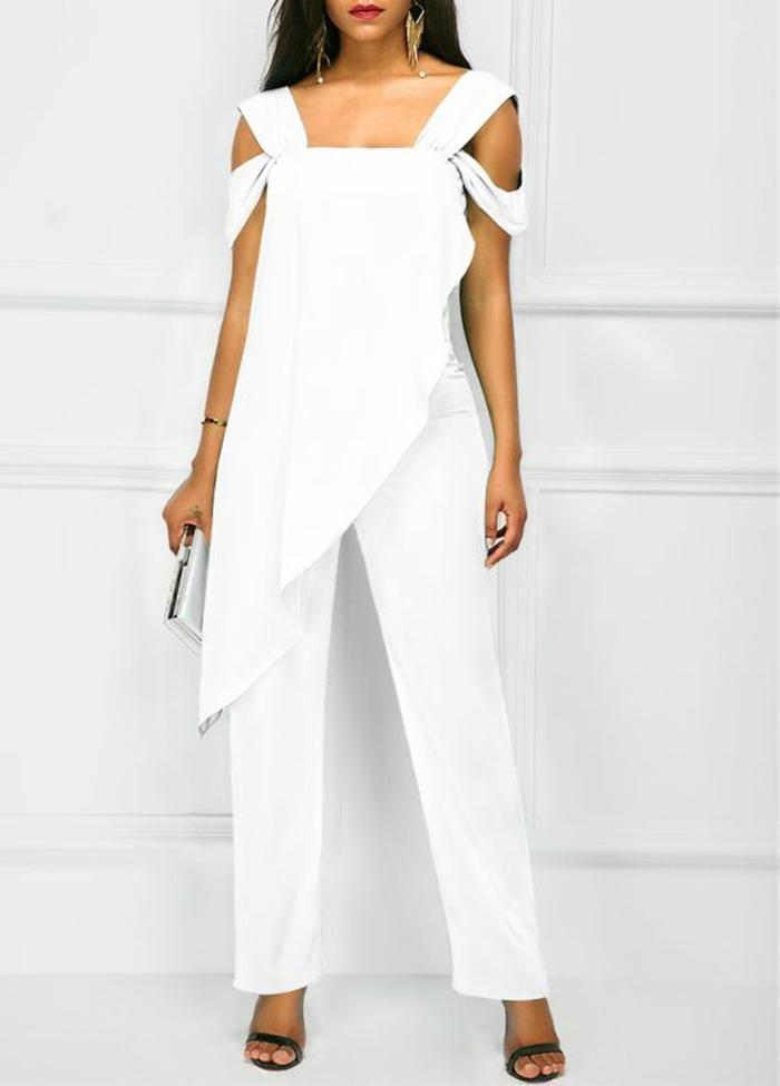 pantalon tailleur blanc, tailleur pantalon femme cocktail, pantalon smoking femme, tenue ceremonie femme en blanc avec tunique aux bords asymétriques et épaules dénudées