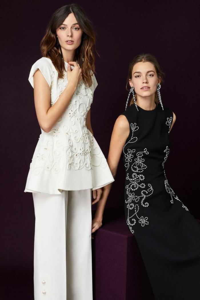 tenue ceremonie femme, deux tenues l'une en noir, l'autre en blanc, tailleur pantalon femme pour ceremonie, tenues avec des broderies complexes en fleurs et arabesques