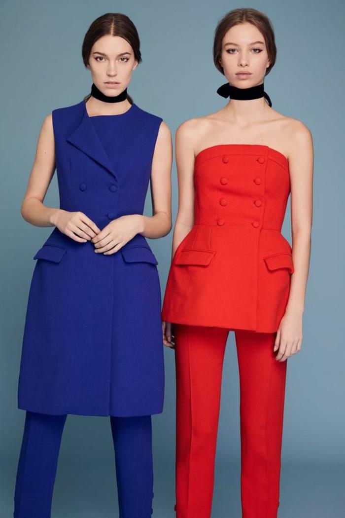 tenue mariage invité, deux modèles en bleu marine et en rouge, tunique longue aux genoux avec pantalon et bustier avec des boutons et pantalon