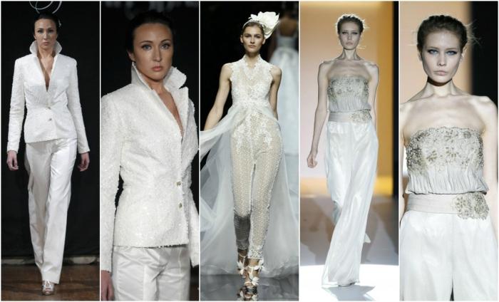 pantalon smoking femme en blanc et ivoire, cinq looks, combishort mariage, vestes et bustiers richement ornées de perles et de broderies