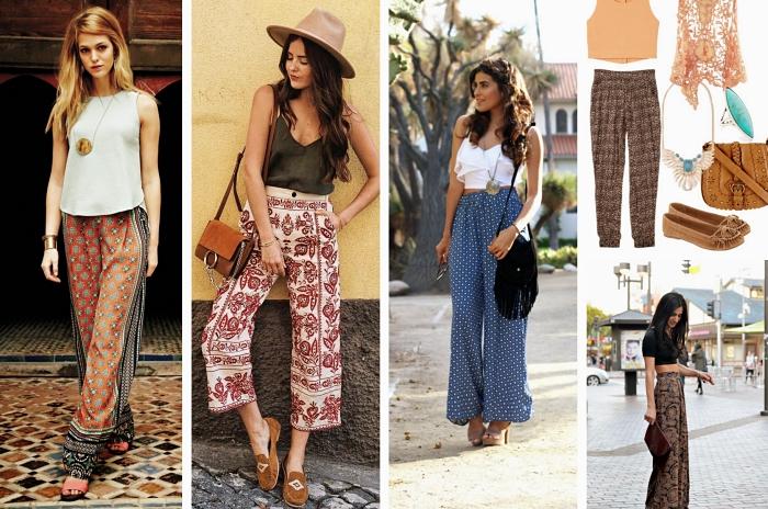 idée comment assortir un pantacourt femme ou palazzo long de style bohème avec top neutre, exemple accessoires style hippie chic