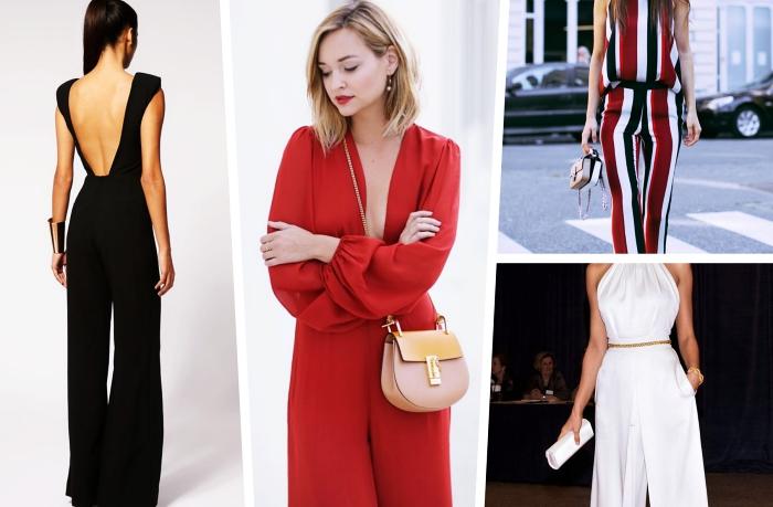 exemple comment porter une combinaison femme, modèle de combipantalon rouge aux manches longues avec décolleté en V