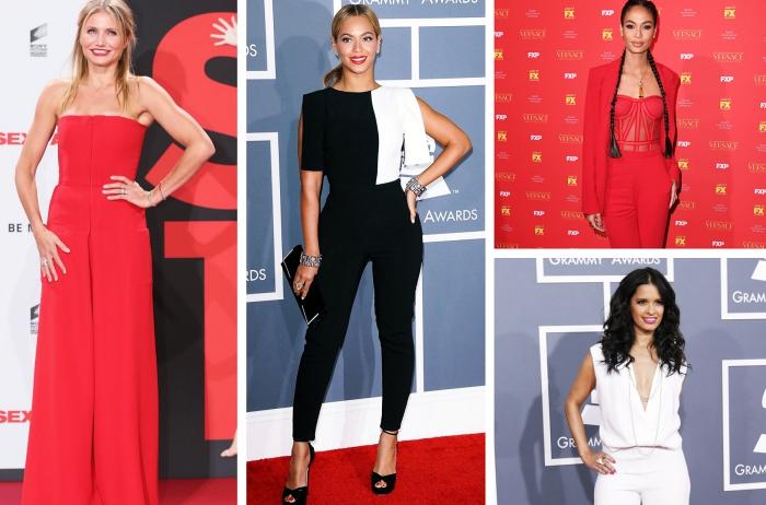 exemple de combinaison femme chic à design rouge fluide avec bustier, modèle de combipantalon noir à top blanc et noir