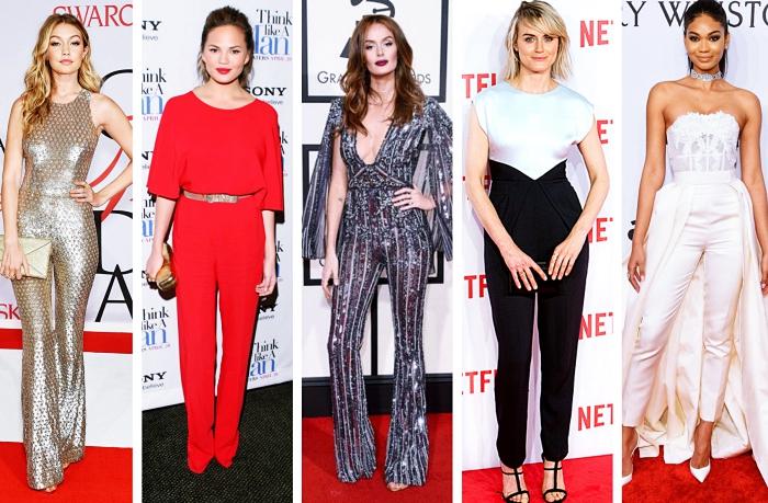 idée comment assortir une combinaison pantalon pour une soirée, Gigi Hadid en combipantalon design métallique brillant