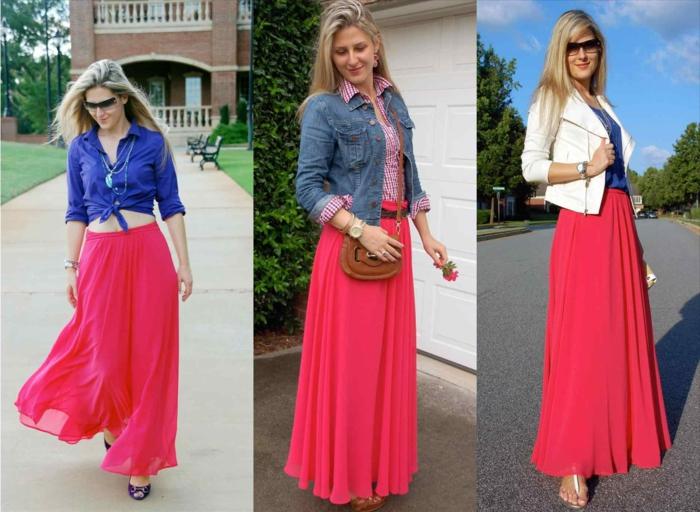longue jupe couleur corail, chemise denim ou veste blanche, façons de porter la longue jupe rose