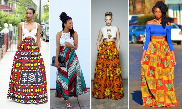 comment porter le vetement africain femme en été d'une manière chic et stylée, idées de looks en jupe maxi ethnique en imprimés wax colorés