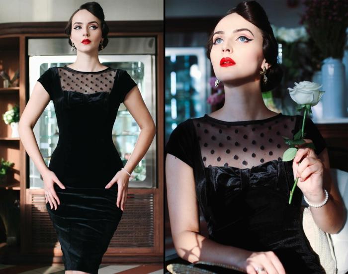 déguisement rockabilly, robe noire en velours et plumetis, maquillage pin up