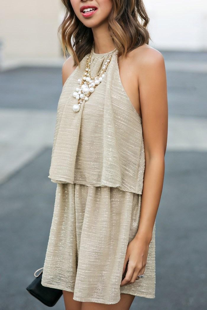 Combishort dos nu, combishort soirée, combishort habillée, idee tenue en combinaison femme soirée, bijou a perles