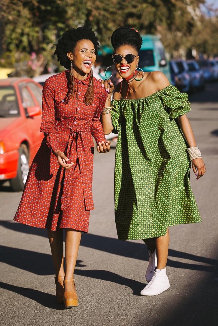deux modèle de robe wax à coupe moderne pour une vision ethnique chic originale, comment porter la robe chemise ethnique