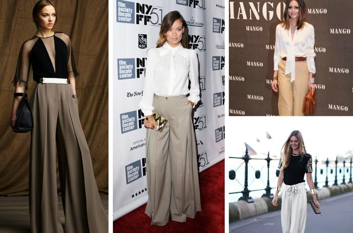 idée comment bien s'habiller avec pantalon fluide de couleur neutre, tenue glamour en pantalon large élégant et top noir
