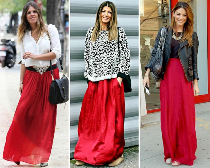 comment porter la jupe longue d'été, jupe fluide rouge, chemise ou veste rockeuse