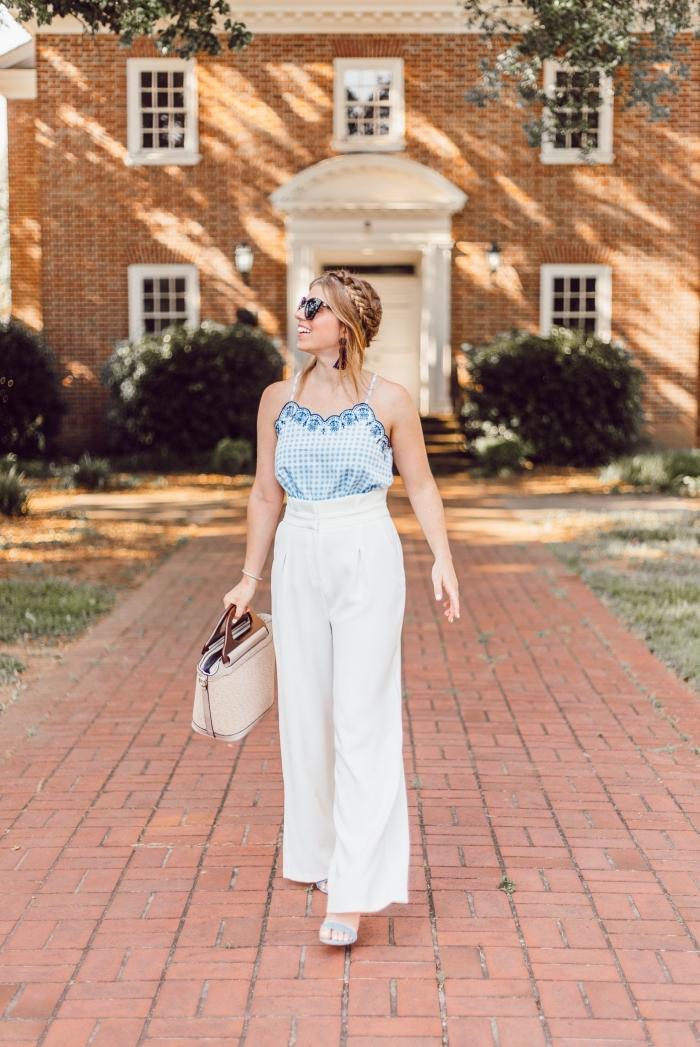 exemple de pantalon fluide taille haute de couleur blanche avec top en bleu clair et blanc à bretelles et sac à main beige