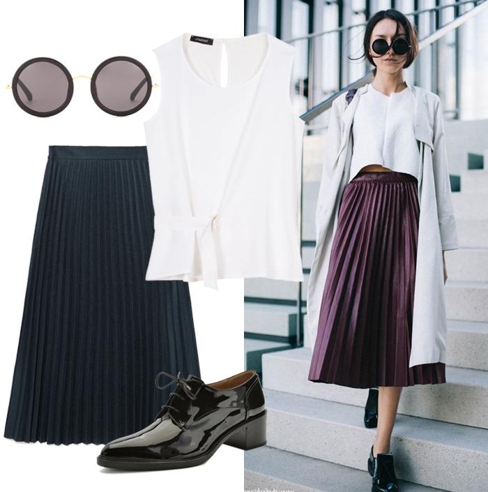 exemple comment assortir vêtement et accessoires avec une paire de chaussures derby, modèle de souliers plats pour femme