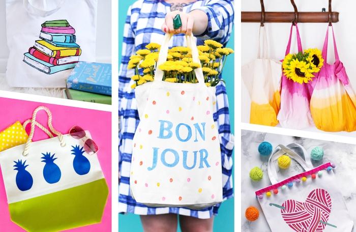 modèles de sacs en tissu à faire soi même, exemple de sac à main blanc avec déco en vert et figurines ananas, modèle de dessin facile en feutres textile