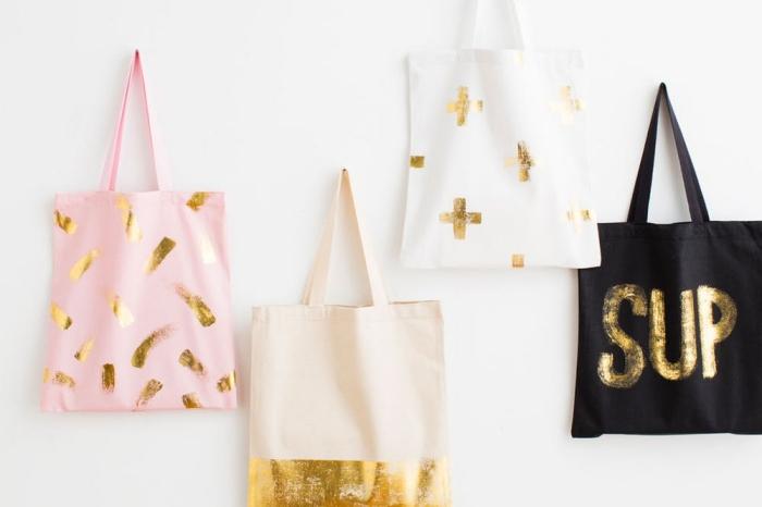modèles de sac à main personnalisé aux motifs métalliques cuivrés, sac cabas rose pastel avec bandeaux dorés