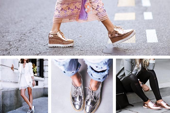 tenue avec derbies pour femme, modèle de chaussures plateformes derby de couleur rose gold de Stella Mccartney