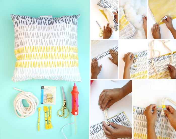 tuto sac cabas facile pour faire un sac achat en housse de coussin blanc avec déco géométrique et poignée en corde coton