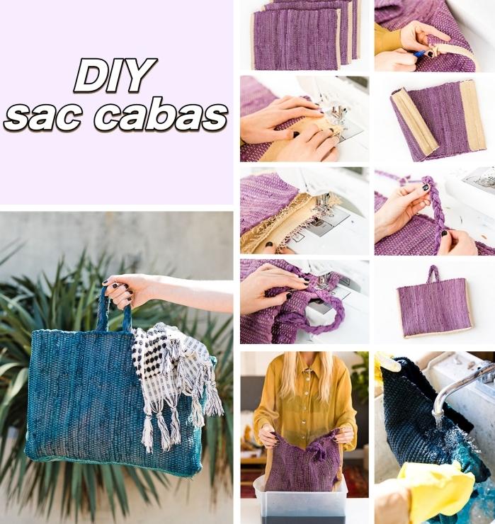 exemple de tuto couture sac facile pour faire un sac à main bleu, étapes à suivre pour réaliser un sac cabas bleu