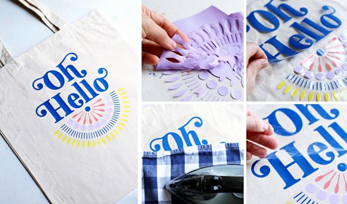 technique fransfert sur textile avec pochoir lettres et pochoir mandala en couleurs pastel, déco dessin mandala et lettre sur sac cabas