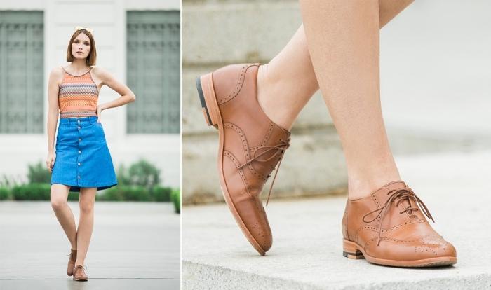 modèle de derbies femme marron combinés avec jupe denim à taille haute, exemple comment porter des chaussures avec lacets femme