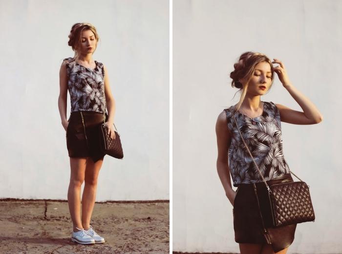 exemple de tenue avec derbies moderne, modèle de jupe courte à fermeture éclaire asymétrique combinée avec paire de chaussures argentées