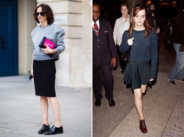 idées avec quoi porter des derbies plats, jupe noire combinée avec pull bleu foncé et une paire de chaussures marron