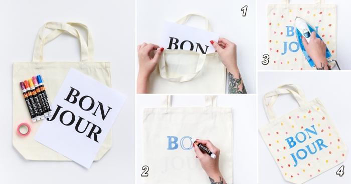 tutoriel facile pour dessiner des lettres bonjour sur un sac cabas blanc avec feutres pour textiles, sac à main personnalisé