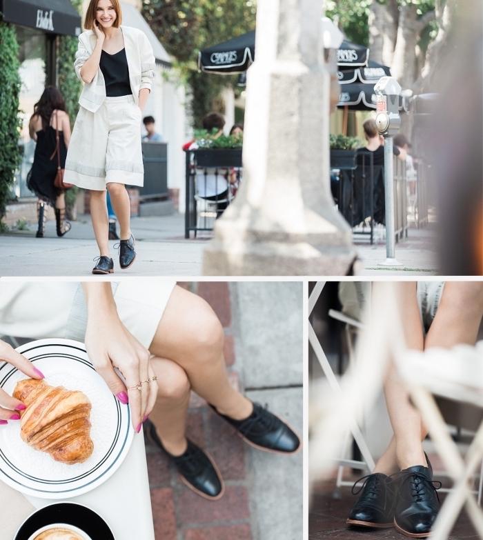 exemple derbies femme look casual chic, combiner une paire de chaussures à lacets avec pantalon mi-long loose design masculin