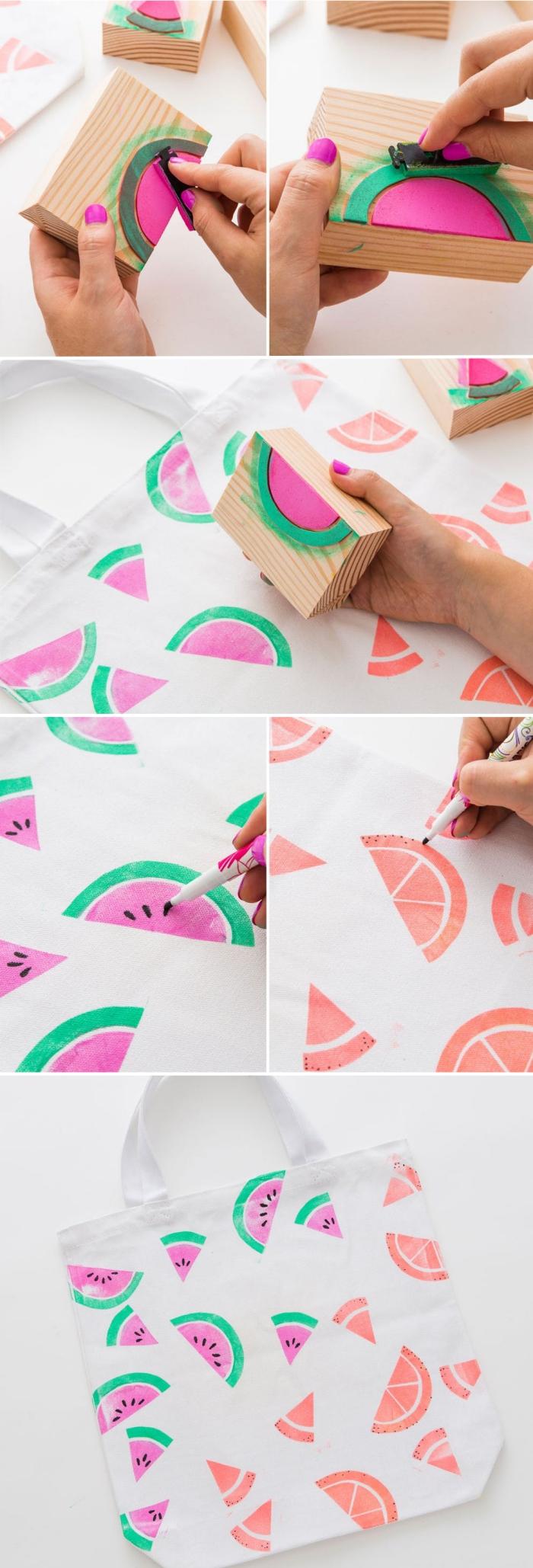 comment dessiner des motifs demi-pastèque sur un tissu blanc, idée comment personnaliser un sac cabas blanc