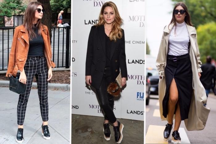 exemple comment porter chaussure derby femme à plateforme, look total noir avec pantalon simili cuir et blazer loose