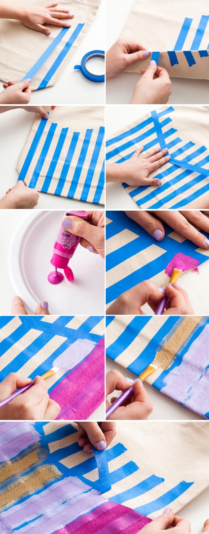 tutoriel pas à pas pour faire une déco à design rayé sur un tissu, sac à main personnalisé beige avec rayures multicolore