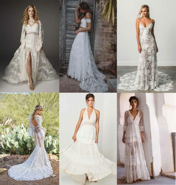robe champetre chic, robe longue hippie chic, six modèles de robes de mariée actuels, tenue boheme chic