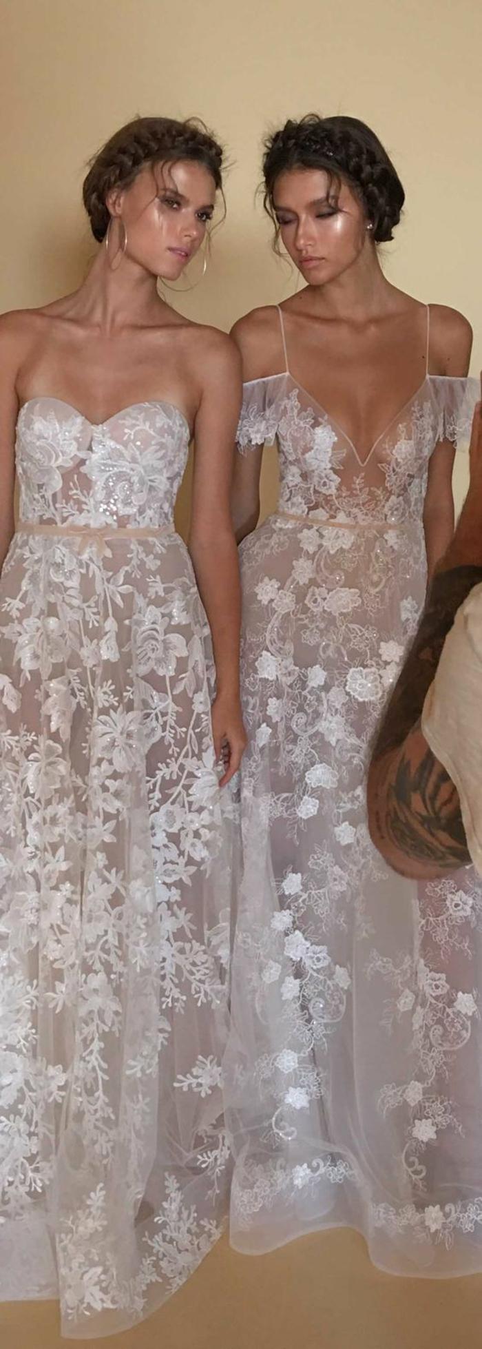 robe longue boheme chic, robe transparente en organza blanche, deux modèles de Berta, corsage et bustier, vetement boheme romantique