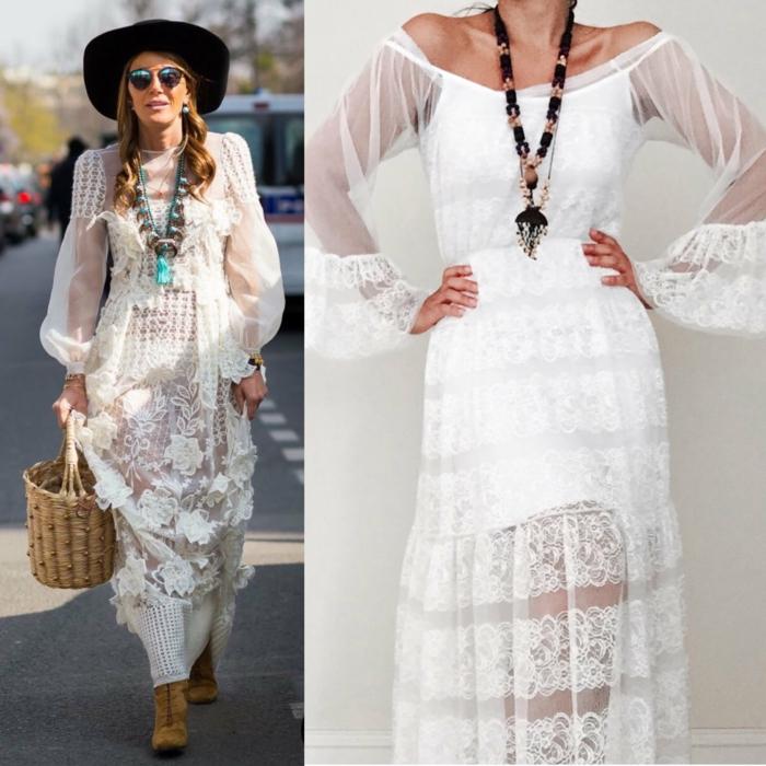 robe longue blanche boheme, robe champetre chic, robe longue hippie chic, manches longues bouffantes transparentes, collier en style ethnique avec des éléments en bois