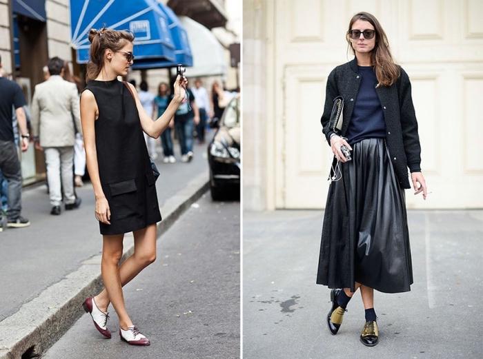 avec quoi porter des derbies, modèle de robe tunique en noir avec pochette et une paire de chaussure bordeaux et blanc