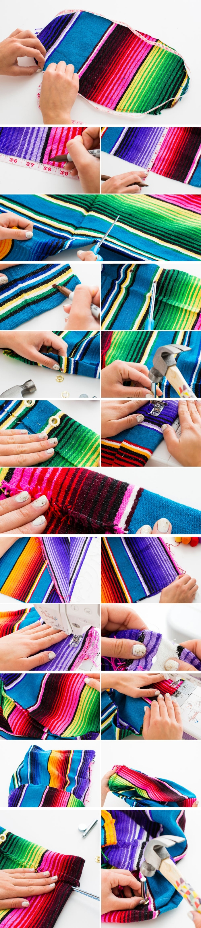 étapes à suivre pour apprendre comment coudre un sac à main facile, tuto sac cabas avec tissu multicolore