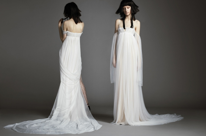 robe blanche boheme, vetement boheme romantique, robe hippie chic en dentelle, épaules nues, taille haute effet drapé derrière