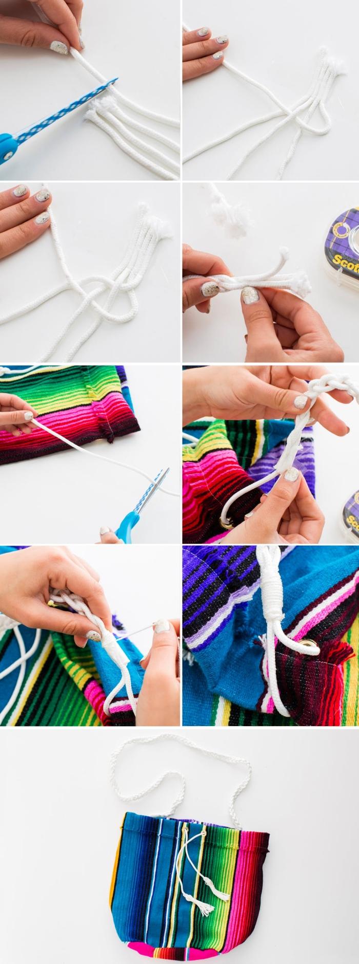 idée comment faire une poignée de sac DIY en corde coton, modèle de sac à main multicolore à rayures avec poignée blanche