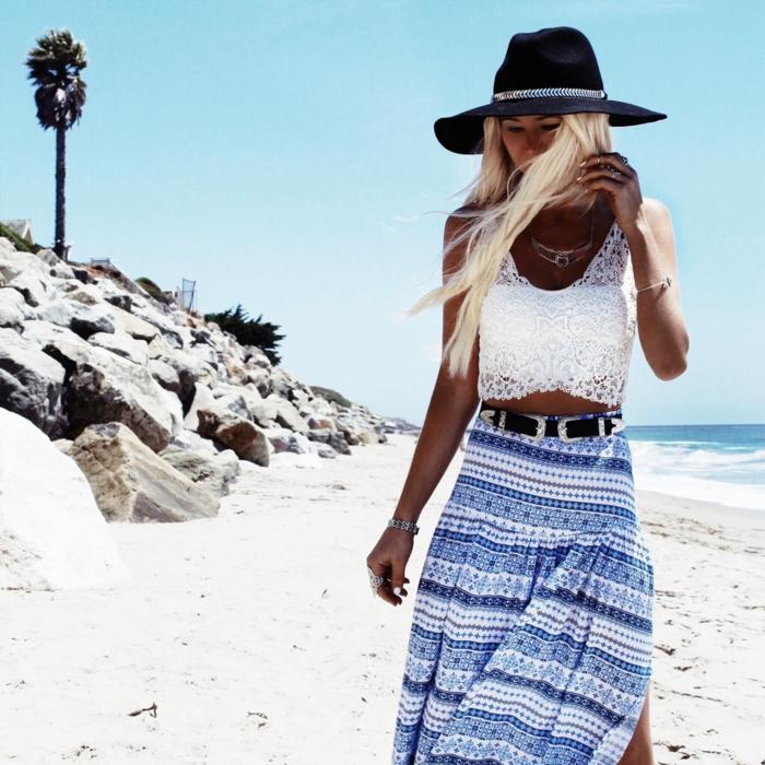 robe blanche boheme, robe hippie chic dentelle, robe champetre chic, femme cheveux longs blonds avec capeline large noire sur la plage