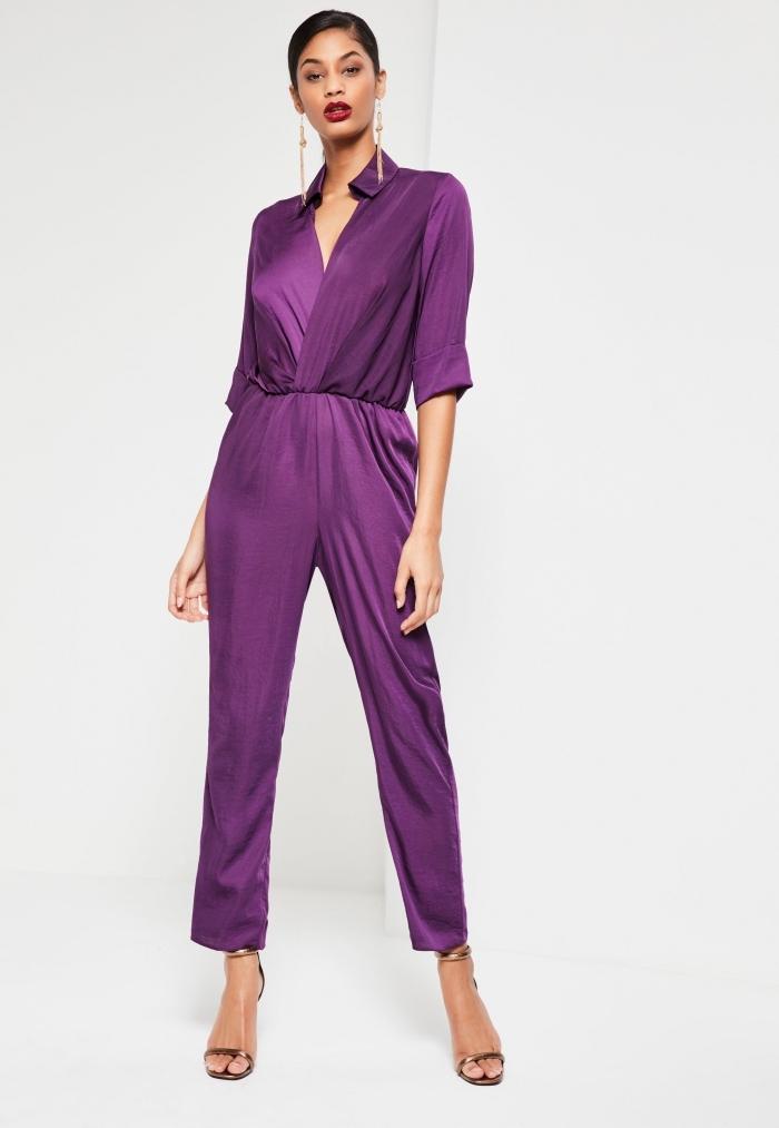 couleurs tendance mode femme 2018, idée comment s'habiller pour assister à un mariage, modèle de combinaison violet chic